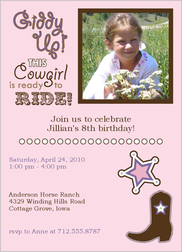 Shutterfly Giddy Up Pink Birthday Invitation